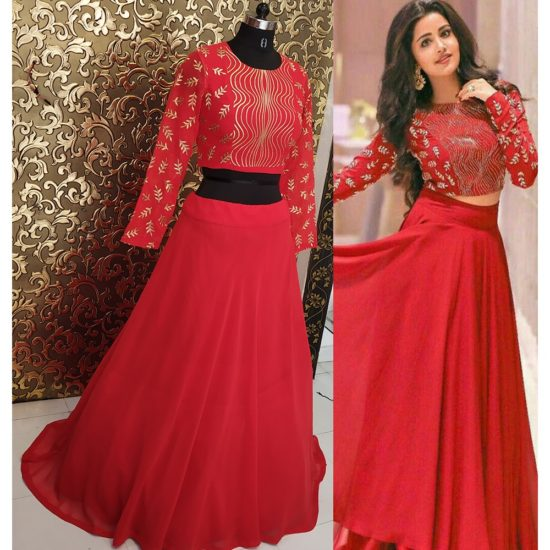 BF290-BUY AWESOME DESIGNER RED LEHENGA CHOLI WITH EMBROIDERY WORK AT BRIDALFAB.